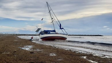 Photo of Sailboat washes up near Fort Pierce Inlet