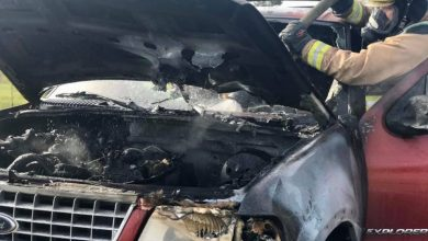 Photo of SUV's engine catches fire on I-95 in Port St. Lucie